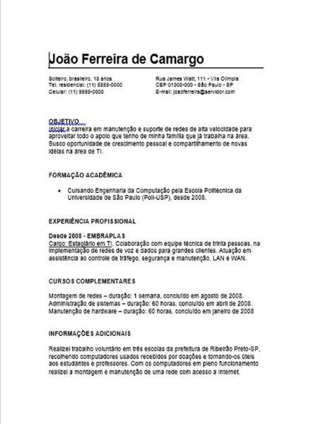 curriculum vitae primeiro emprego portugal